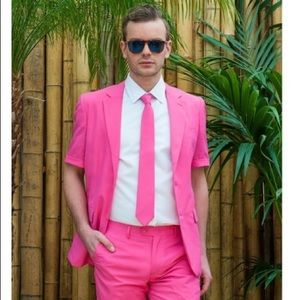 OppoSuits Mr Pink summer suit 40 jacket shorts tie
